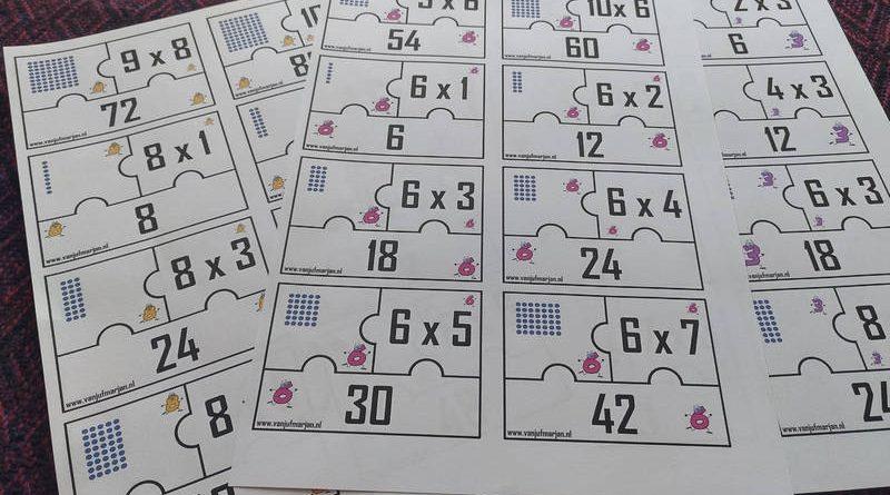 Combinatiepuzzels met tafels apart